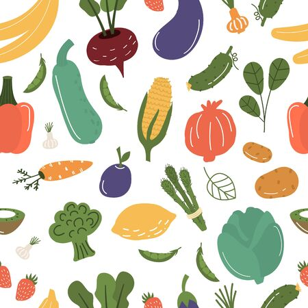 Fruits and vegetables seamless pattern vector illustration. Illustration