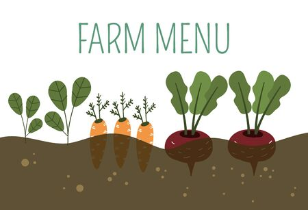 Farm vegetables in ground banner vector illustration. Hand drawn organic vegetarian healthy food. Fresh natural market nutrition. Shopping grocery vegetable. Summer harvesting organic farm. Illustration