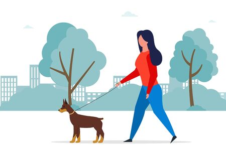 Walking dog vector concept. Professional dog walking person.