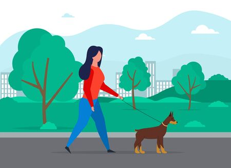 Walking dog vector concept. Professional dog walking person. Woman with cute pet animal in park. Girl walk outdoor puppy. Active doggy playing and running with owner.