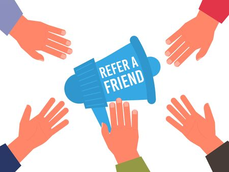 Refer a Friend Poster with Megaphone and Hand. Vector Illustration referral marketing business concept. Friend share recommendation banner. Referring advertising offer. Refer friend online recommended.