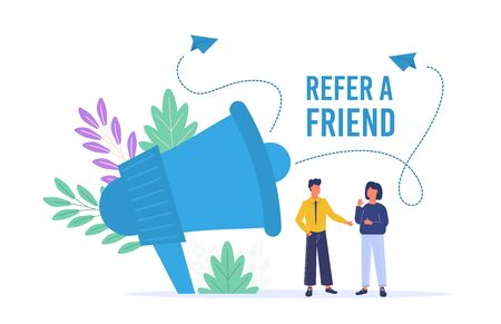 Refer a Friend Poster with Megaphone Man and Woman. Vector referal marketing business concept. Friend share recommendation banner. Referring advertising offer. Refer friend online recommended.