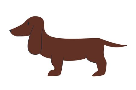 Dachshund dog Cute funny cartoon animal. Vector puppy pet character Illustration