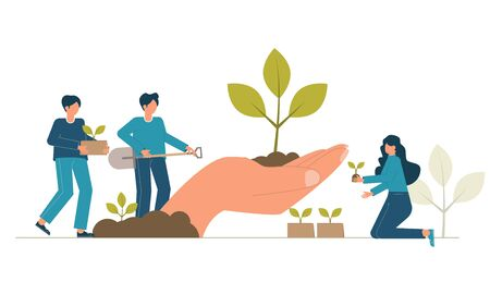 Reforestation concept. Forest restoration, reforestation planting trees, environment day. Characters seedling garden. Vector volunteer gardening plant. Environmental agriculture save earth ecology.