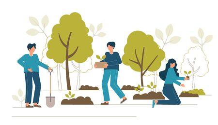 Concepto de reforestación. Restauración forestal, reforestación, plantación de árboles, día del medio ambiente.