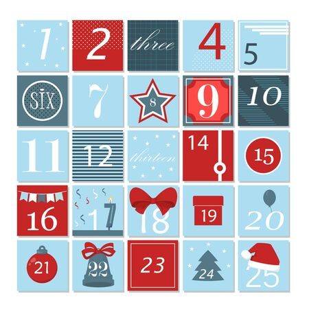 Advent calendar. Christmas poster. Winter xmas holiday greeting surprise gift. Vector illustration.
