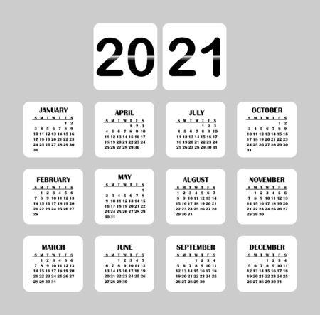 2021 year calendar. Vector illustration month business organizer year planner. Ilustracja