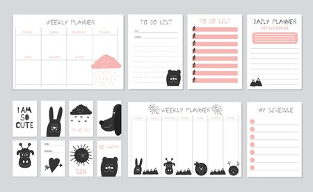 Scandinavian Weekly and Daily Planner Template. Ilustración de vector