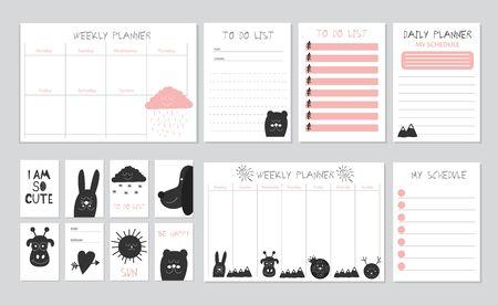 Modèle de planificateur hebdomadaire et quotidien scandinave. Vecteurs