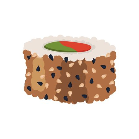 Sushi roll Fresh sea food with fish salmon tuna. Japanese rice traditional delicacy cusine. Vector illustration