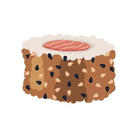 Sushi roll Fresh sea food with fish salmon tuna. Japanese rice traditional delicacy cusine. Vector illustration  イラスト・ベクター素材