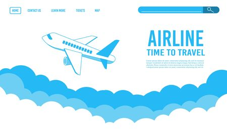 Airplane ticket template or landing page design, banner with flying airliner in sky with clouds, passenger aircraft, plane, tourism concept, vector illustration. Reopening airline travel flight.