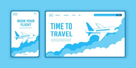 Airplane ticket template or landing page design, banner with flying airliner in sky with clouds, passenger aircraft, plane, tourism concept, vector illustration. Reopening airline travel flight. Illustration