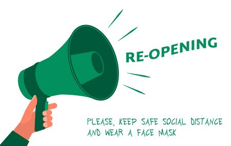 Reopening invitation card with green megaphone. Open sign on front door. Come in we are Open Welcome back. Keep social distance and use face mask. Vector reopening signboard. Quarantine reopen notice