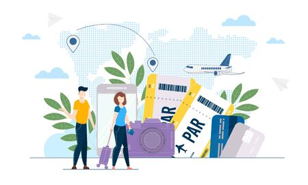 People with tickets and suitcase. Couple Holding Boarding Pass. Airplane flight concept. Travel characters boarding. Love couple waiting honeymoon journey. Man and woman have vacation trip. illustration.