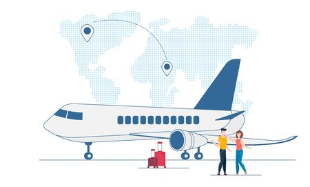 Airplane flight concept. People with suitcase. Couple Boarding on plane. Travel characters boarding. Love couple waiting honeymoon journey. Man and woman have vacation trip. illustration.