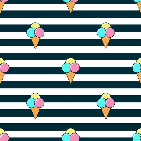 Ice cream seamless pattern in retro style. Colorful melting ice-cream seamless pattern vector.