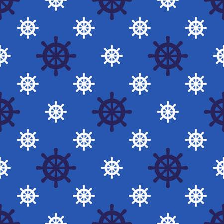 Boat steering wheel seamless pattern marine fabric vector illustration