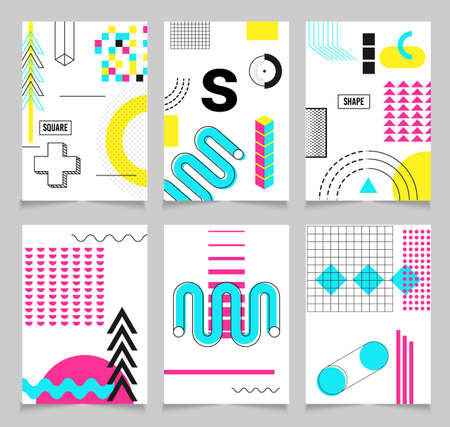 Geometric shapes. Trend Neo Memphis geometric poster cards with bright bold blocks of color zig zags, squiggles, erratic images. Minimal cover art chaotic retro pop. Magazine, leaflet, billboard