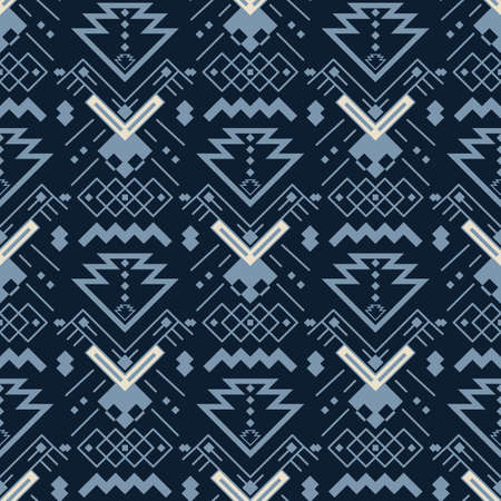 Aztecs seamless pattern. Tribal ethnic ornament. Geometric abstract background. Illustration
