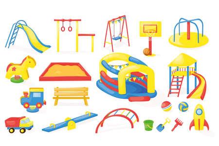 Playground equipment vector set. Cartoon play park children activity design. Outdoorkids fun recreation amusment collection.