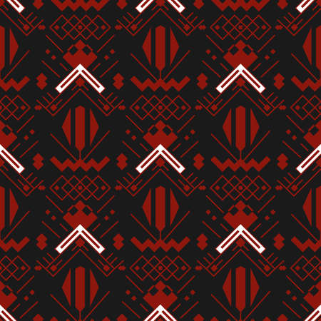 Aztecs seamless pattern. Tribal ethnic ornament. Geometric abstract background. Traditional indian fashion print. Tribal pattern mexican trendy folk vector texture.
