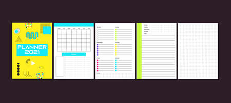 Daily, weekly, monthly planner template. Minimalist planners. Blank diary notebook page isolated. Business organizer page. Paper sheet vector. Ready to print template. Week schedule. Organizer page