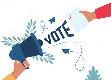 Voting concept in flat style - hand putting paper. Hand puts vote bulletin. Election concept. Flat design vector illustration. Hand holding megaphone. Social media marketing concept.