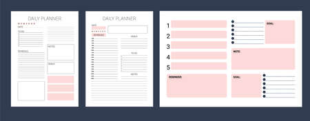 Week schedule. Organizer page. Daily, weekly, monthly planner template. Minimalist planners. Blank diary notebook page isolated. Business organizer page. Paper sheet vector. Ready to print template.
