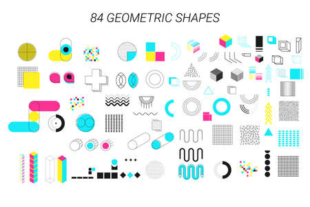 Geometric shapes. Trend Neo Memphis geometric elements with bright bold blocks of color zig zags, squiggles, erratic images. Minimal cover art chaotic retro pop. Magazine, leaflet, billboard