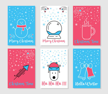 Christmas and Winter cards collection. Line art merry christmas holiday symbols. Xmas decoration gifts and trendy minimal ornament. Festive winter new year vector icons. Vektorové ilustrace