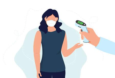 Woman checking temperature. Check body temperature before entering public area.
