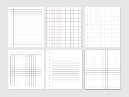 Notebook paper sheet document. Graphical blank paper sheet set for data representation. Page ripped off from notebook. Vector empty note paper. Remember list template. Lined school card.