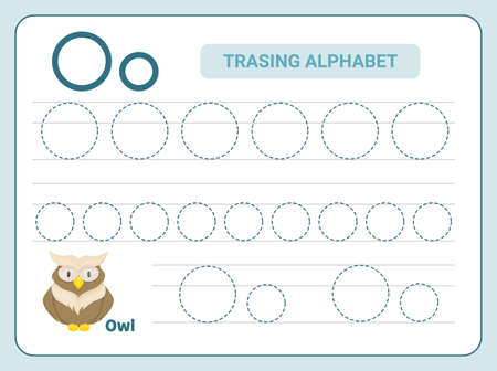 Alphabet tracing practice Letter O. Tracing practice worksheet. Learning alphabet activity page.