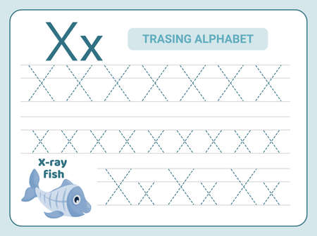Alphabet tracing practice Letter X. Tracing practice worksheet. Learning alphabet activity page. Printable template. Uppercase and lowercase ABC trace practice worksheet. Learning English handwriting