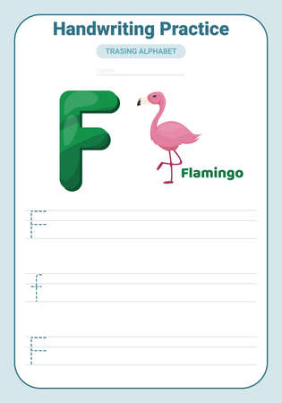 Alphabet tracing practice Letter F. Tracing practice worksheet. Learning alphabet activity page. Printable template. Uppercase and lowercase ABC trace practice worksheet. Learning English handwriting