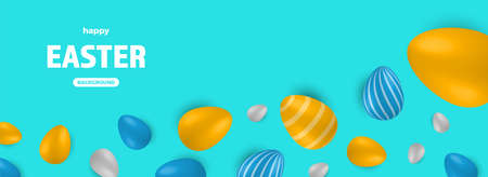 Colored Easter Eggs banner. 3d easter egg, spring holiday traditional symbol. Colorful ornament realistic seasonal decoration. Vector illustration easter greeting card