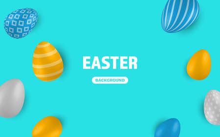 Colored Easter Eggs banner. 3d easter egg, spring holiday traditional symbol. Colorful ornament realistic seasonal decoration. Vector illustration easter greeting card Foto de archivo - 168193825
