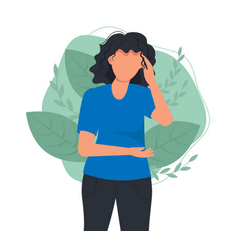 Woman suffering from stress or headache grimacing pain. Woman hold her hand on her stomach and head. Headache. Pain in abdomen. Stress every day. Problem with health. Painful ache menstruation period.