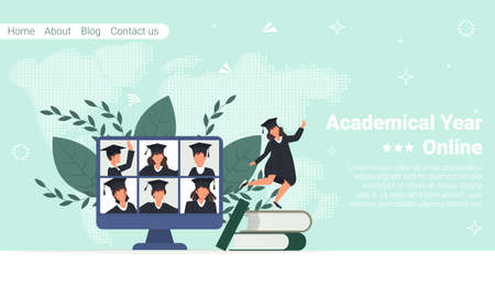 Online video call graduate students in mantle on computer screen. Computer screen with online graduation ceremony. Diverse virtual celebration meeting during quarantine. Online education. Vektoros illusztráció