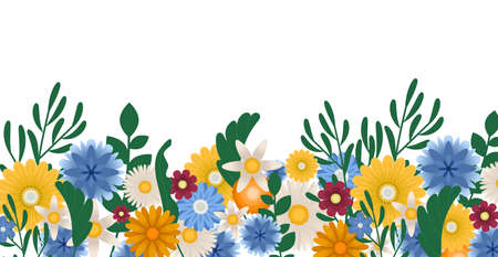 Flower Border. Romantic Summer Floral background illustration with text space, vector illustration. Horizontally and vertically repeatable. Decorative Blossom Birthday Bouquet.