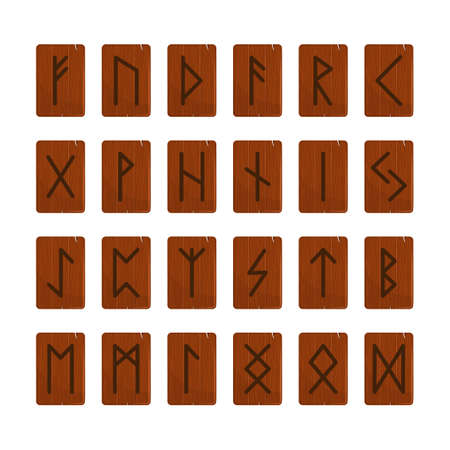 Wooden runes magic vector illustration sign. Runic script ancient mystery alphabet. Sacred old nordic occult letter. Wizardry spiritual runic symbol.