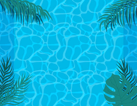 Swimming pool pattern. Vector swimming pool illustration. Summer time blue texture. Sea wave water reflaction. Bright clear sea transparent water.