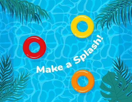 Pool party vector poster, flyer or banner template. Pool or Beach Party Invitation Template Card. Swimming pool event invitation. Beach club holiday poster. Summer time.