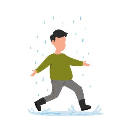 The boy runs in the rain. Autumn fun activities.