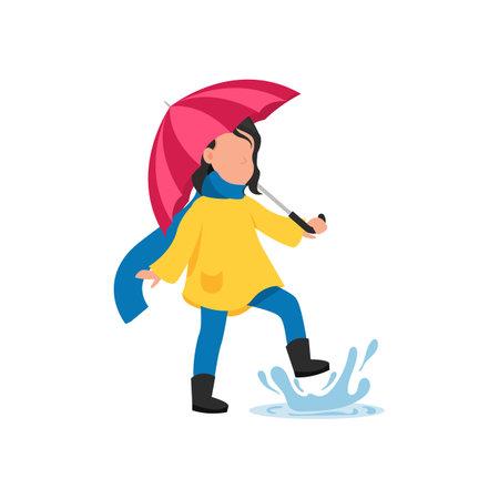 The girl runs in the rain. Autumn fun activities.