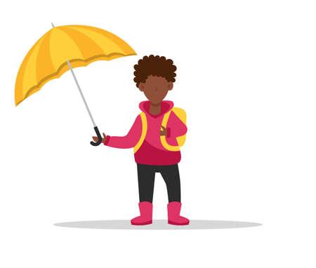 African-American boy under an umbrella. Back to school.