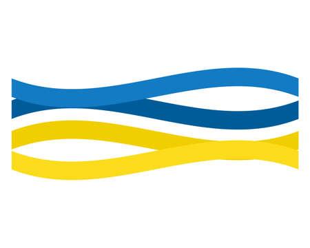 Independence day Ukraine. Conceptual label strip symbolic Ukrainian flag.