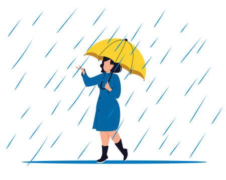 Woman with umbrella rain puddles enjoying autumn days.