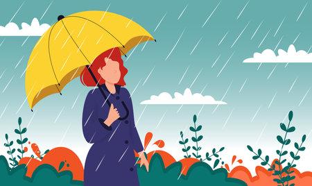 Autumn landscape city woman umbrella rain puddles of yellow trees.